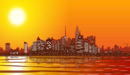 City skyline silhouette at sunset.