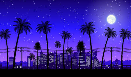 City skyline silhouette at dusk. Skyscappers, towers, office and residental buildings. Cityscape under night sky, moon and palm tree. Vector illustration Illustration