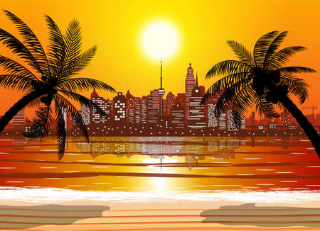 City skyline silhouette at sunset. Skyscappers, towers, office and residental buildings. Sea, beach, palm tree and cityscape under sunrise sky. Vector illustration Illustration
