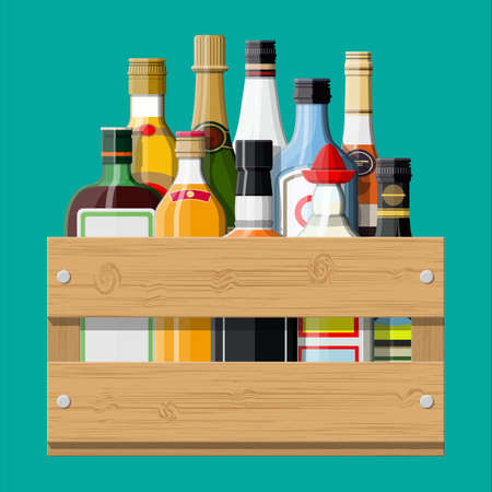 Alcohol drinks collection in box Stock Illustratie