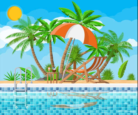 Swimming pool and lounger, palm tree