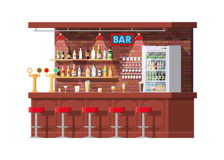 Interior of pub, cafe or bar counter