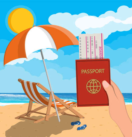 A landscape of wooden chaise lounge with a beach umbrella and a travel documents.