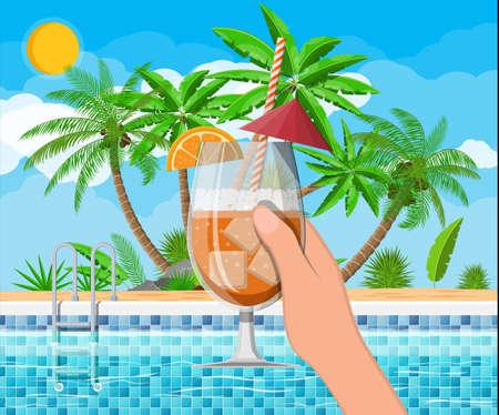 Swimming pool and cocktail, palm tree Illusztráció