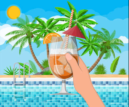 Swimming pool and cocktail, palm tree Stock Illustratie
