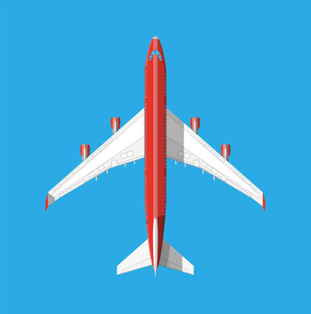 Airplane top view. Passenger or commercial jet isolated on blue. Aircrfat in flat style. Vector illustration Illustration