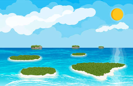 Landscape of islands and beach. Sun with reflection in water and clouds. Day in tropical place. Aerial view. Vector illustration in flat style Illustration