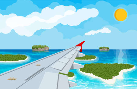 Window from inside the airplane with islands and airplane wing Illustration