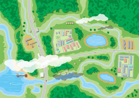 Suburban nature map, aerial view vector illustration.