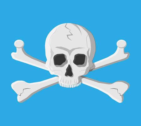 Death skull and crossbones. Deads head. Pirate, danger, poison symbol. Vector illustraton in flat style Illustration