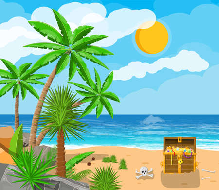 Pirates treasure island with chest and tropical plants Illustration