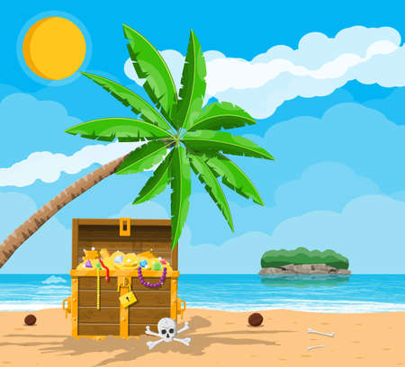 Pirates treasure island with chest and tropical plants Stock Illustratie