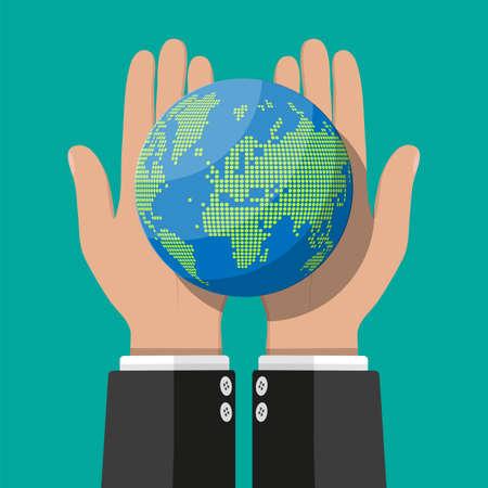 World map silhouette. Globe in hand Vector illustration.