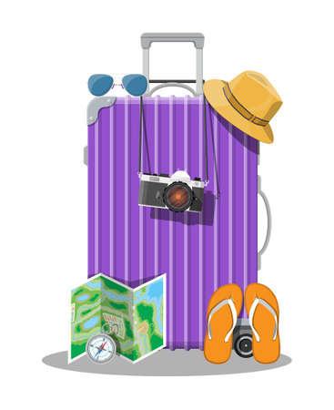 Plastic travel bag. Plastic case with wheels. Hat, photo camera, eyeglasses, paper map, compass, flip flops. Baggage and luggage. Vector illustration in flat style 向量圖像