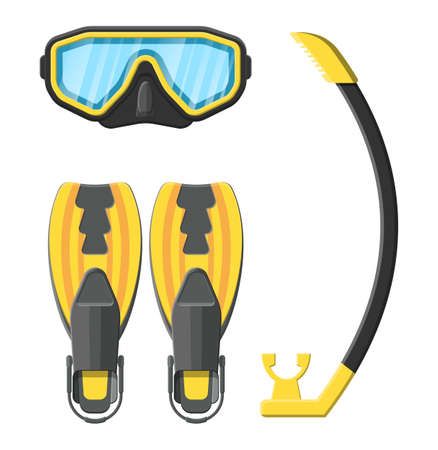 Diving mask, flippers and snorkel. Diving equipment. Scuba, snorkeling. Goggles and pipe. Vector illustration in flat style Illustration