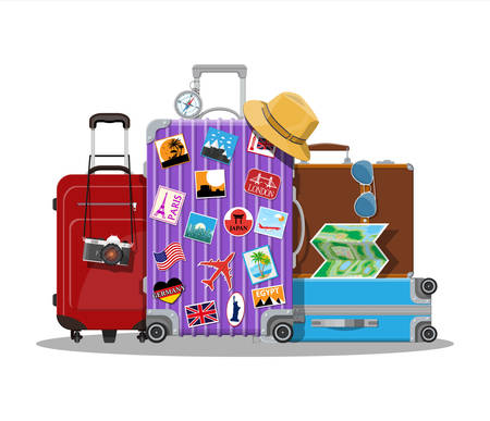 Vintage and modern travel and luggage bag. Vector Illustration