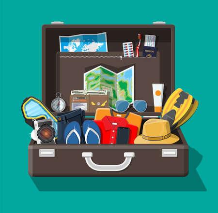 Big travel set. Summer holiday, tourism, vacation Vector illustration. Illustration