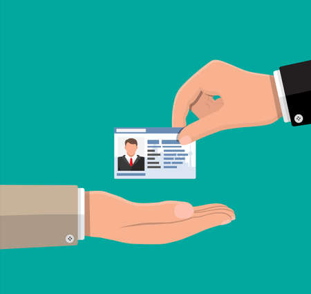 Businessman hand gives business card. Ilustracja