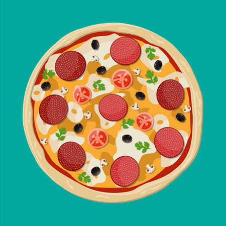 Pizza with pepperoni. Traditional fast food Vector illustration.