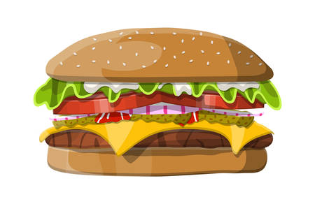Burger with onion, salted cucumber, salad, tomatoes, cheese, sauce, bun with sesame seeds and beef cutlet on white background illustration.