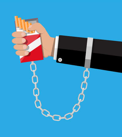 Tobacco abuse concept. Pack of cigarettes chained to hand shackles. No smoking. Rejection, proposal smoke. Vector illustration in flat style.