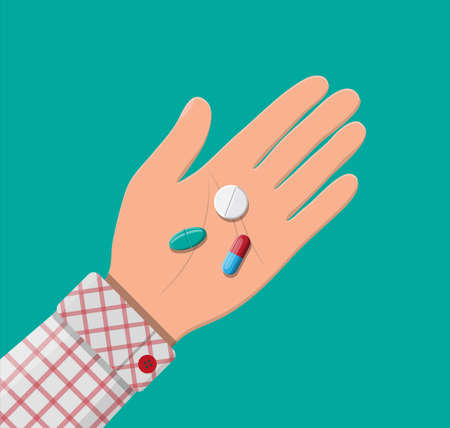 Pills for illness and pain treatment in hand. Medical drug, vitamin, antibiotic. Healthcare and pharmacy. Vector illustration in flat style