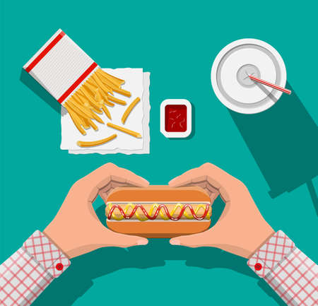 Tasty hotdog, red striped paper glass with drinking straw, french fries in white paper box. Cup of cola with fries and hot dog. Man eating fast food. Top view. Vector illustration in flat style
