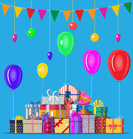 Decorated background with colorful balls, garland lights, balloons and pennant bunting. Lots of gift boxes. Greeting card, festive poster. Vector illustration in flat style
