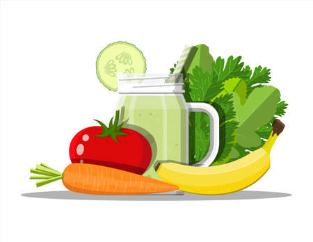 Nature organic products. Diet, nutrition, fitness and weight loss. Vitamins from fruits vegetables. Tomato, carrot, banana, salad and cucumber smoothie. Veggie food. Flat vector illustration