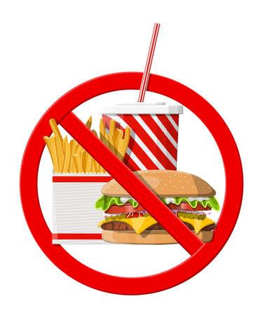 No se permite comida rápida. Rechazo de comida chatarra, snacks. Grasa, sobrepeso. Taza de cola con papas fritas y hamburguesa con queso. Comida rápida. Ilustración de vector de estilo plano