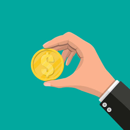 Gold coin in hand. Golden coin with dollar sign. Growth, income, savings, investment. Symbol of wealth. Business success. Flat style vector illustration.
