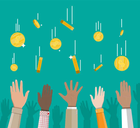 Falling gold coins and hands. Money rain. Golden coins with dollar sign. Growth, income, savings, investment. Symbol of wealth. Business success. Flat style vector illustration. Illustration