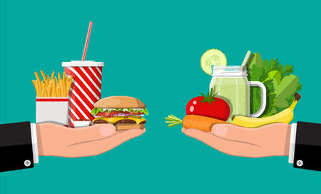 Hands with fast food and organic products. Diet, nutrition, fitness and weight loss or overweight and fat. Greasy cholesterol vs. vitamins from fruits vegetables. Food choice. Flat vector illustration Illustration