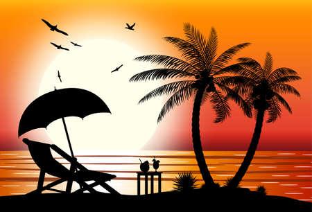Silueta, de, playa Ilustración de vector