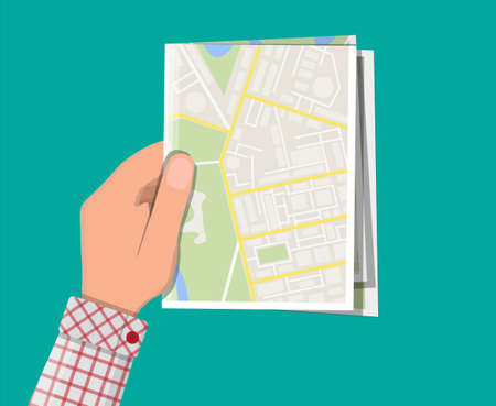Folded paper city map in hand Illustration