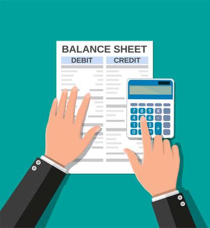 Accountant checks money balance Vektorové ilustrace