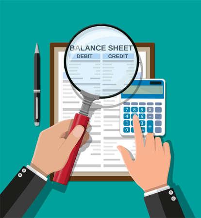 Accountant checks money balance