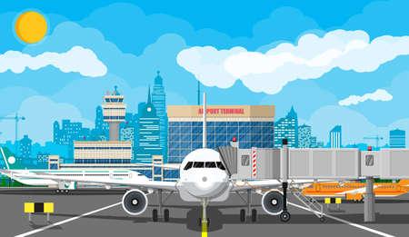 Plane before takeoff Vektorové ilustrace