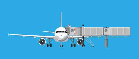 Aero bridge or jetway with aircraft Illustration