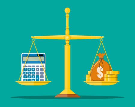 Money balance concept. Vektorové ilustrace