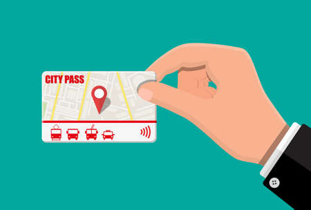 Hand with city pass.