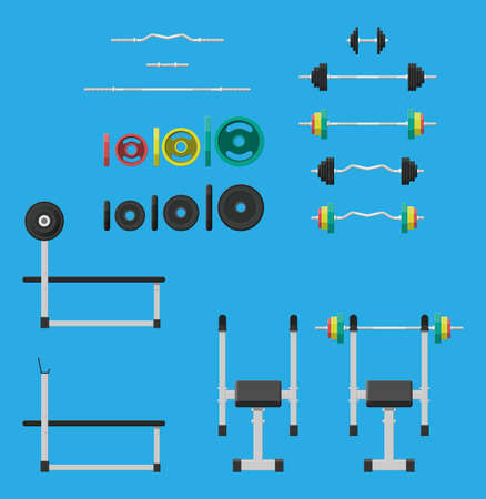 Rubber and metal weights, dumbbell and bench