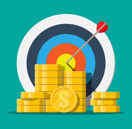 Target with arrow and pile of gold coins. Goal setting. Smart goal. Business target concept. Achievement and success. Vector illustration in flat style Illustration