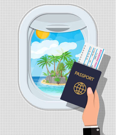 Window from inside the airplane. Hand with passport and ticket. Aircraft porthole shutter. Tropical island with palm tree in ocean. Air journey or vacation concept. Vector illustration in flat style