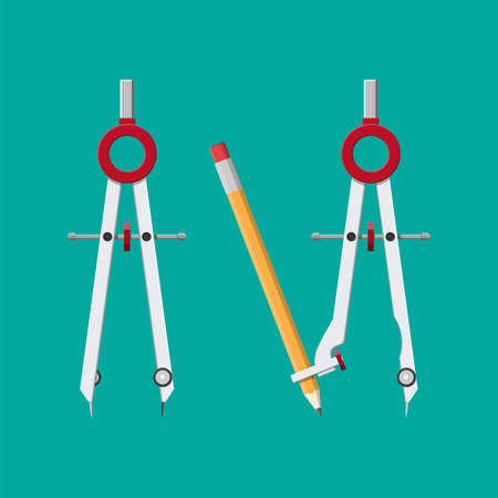 Metalic drawing compass. Divider caliper with attached pencil for office supply, school, stationery. Office and education equipment. Vector illustration in flat style