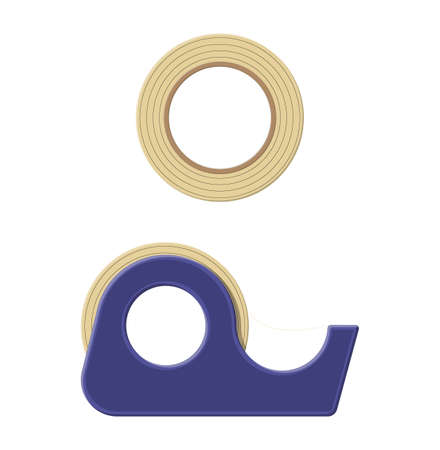 Adhesive tape in plastic dispenser, scotch. Tools for education and work. Stationery and office supply. Vector illustration in flat style 向量圖像