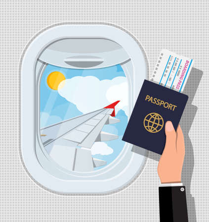 Window from inside the airplane. Hand with passport and ticket. Aircraft porthole shutter and wing. Air journey or vacation concept. Vector illustration in flat style Stock Illustratie