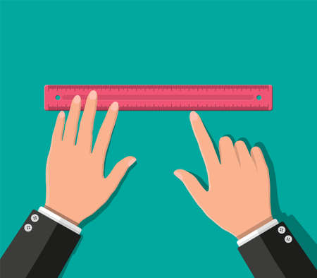 Plastic measuring ruler in hand. Tools for education and work. Stationery and office supply. Vector illustration in flat style