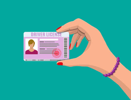 Car driver woman license identification card with photo in hand. Driver license vehicle identity document. Stamp, barcode, plastic id card. Vector illustration in flat style Illustration