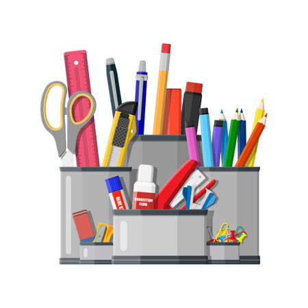 Pen holder office equipment. Ruler, knife, pencil, pen, scissors. Office supply stationery and education. Vector illustration flat style Illustration